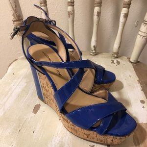 Blue Antonio Melani wedge Heels Size 6